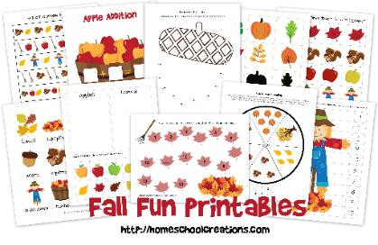 math worksheet : fall fun learning printables : Fall Worksheets For Kindergarten